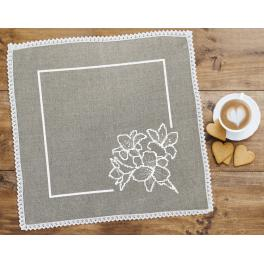 Cross stitch kit with mouline and napkin -Napkin with lilies linen