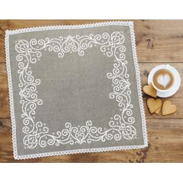 Cross stitch kit with mouline and napkin - Napkin with arabesque linen