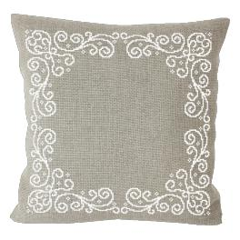 Cross Stitch pattern - Pillow with arabesque linen