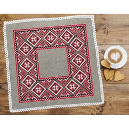 ZU 8917 Cross stitch set with mouline and napkin - Ethnic napkin linen I