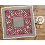 Cross stitch set with mouline and napkin - Ethnic napkin linen I