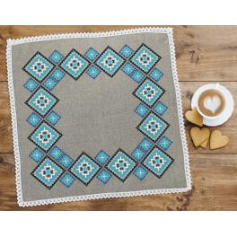ZU 8918 Cross stitch set with mouline and napkin - Ethnic napkin linen II