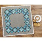 Cross stitch set with mouline and napkin - Ethnic napkin linen II