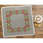 Cross stitch set with mouline and napkin - Ethnic napkin linen III