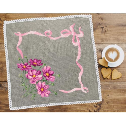 Cross stitch pattern - Napkin with cosmos linen