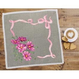 Cross stitch set with mouline and napkin - Napkin with cosmos linen