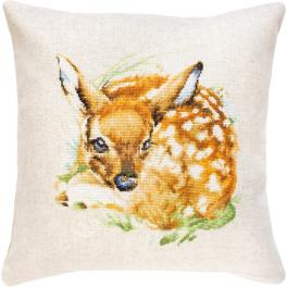 Cross stitch kit with mouline and a pillowcase - Pillow - Little roe deer