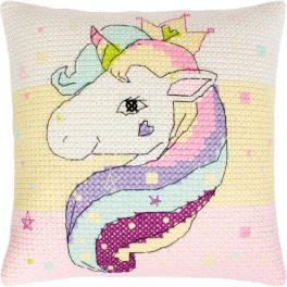 Cross stitch kit with mouline and a pillowcase - Pillow - Rainbow unicorn