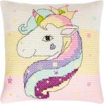 Cross stitch set with mouline and a pillowcase - Pillow - Rainbow unicorn