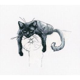 Cross stitch set - Black cat - Don't disturb
