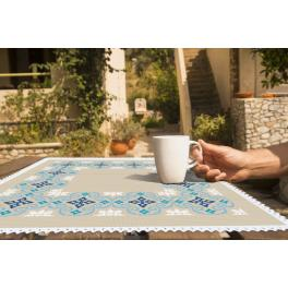 Cross stitch kit with mouline and napkin - Moroccan napkin I