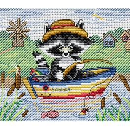 Cross stitch kit - Fishing raccoon