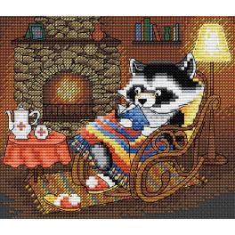 Cross stitch kit - Racoon's winter evening