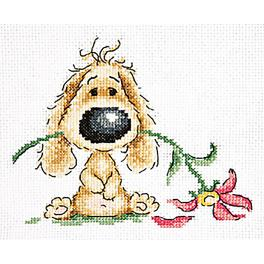 Cross stitch kit - Puppy and flower