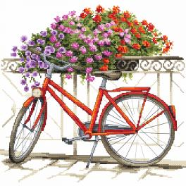 Cross stitch kit with beads - On a bicycle through the summer