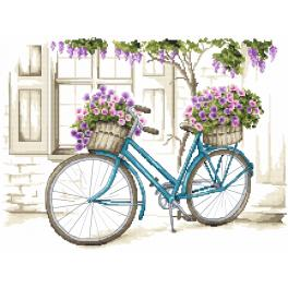 ZI 8773 Cross stitch kit with mouline and beads - Bicycle with surfinia