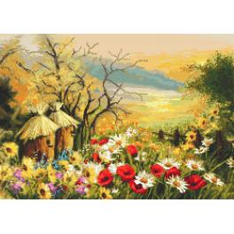Cross Stitch pattern - Garden with beehives
