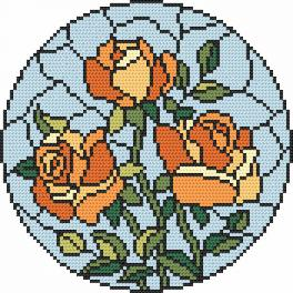 Cross Stitch pattern - Stained glass - Roses