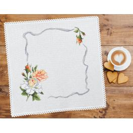 Cross stitch kit with mouline and napkin - Napkin with roses