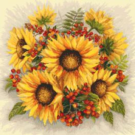 Kit with tapestry and mouline - Sunflowers