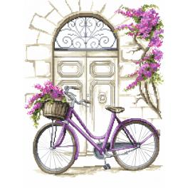 Cross stitch kit with beads - Bicycle with bougainvillea