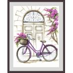 Cross stitch kit - Bicycle with bougainvillea