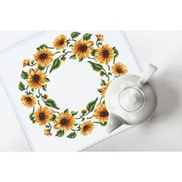 Cross stitch kit with mouline and napkin - Napkin - Sunflowers