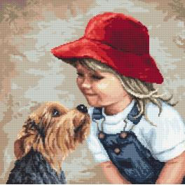 K 10135 Tapestry canvas - Girl with a york