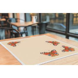 Cross stitch kit with mouline and napkin - Napkin with butterflies