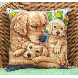 Cross stitch set - Pillow with dogs - Close to mum