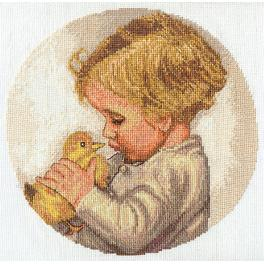 Cross stitch kit - Boy with Duckling