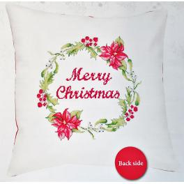 Cross stitch kit with mouline and a pillowcase - Pillow – Merry Christmas