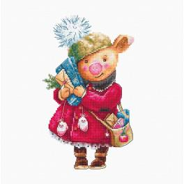 LS B1153 Cross stitch kit - Christmas pig