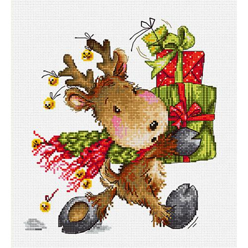 Cross stitch kit - Christmas deer with gifts