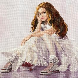 NHHK 3306 Cross stitch kit with mouline, beads and printed background - Cherry dreams