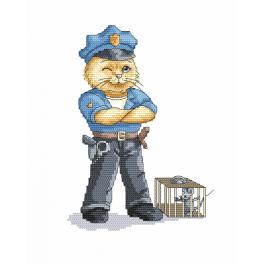 Cross Stitch pattern - Cat - policeman