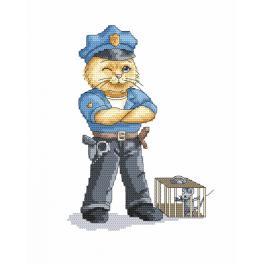 Cross stitch kit - Cat - policeman
