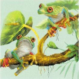 RIO 0083 PT Kit with mouline and printed background - Frogs