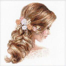 Cross stitch kit with mouline, beads end ribbons - Romance