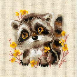 Kit with yarn - Little raccoon