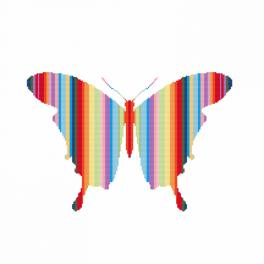 Cross stitch kit with beads - Rainbow butterfly