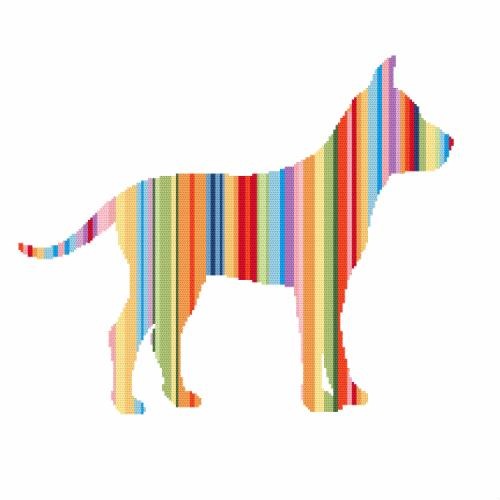 Cross stitch kit with beads - Rainbow dog