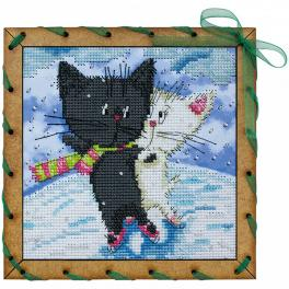 Kit with mouline, beads, frame and ribbon - Ice dances
