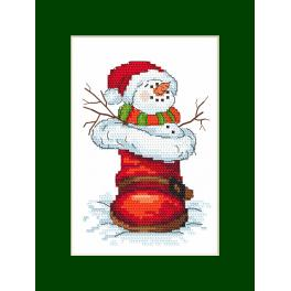 Cross stitch pattern - Card with a snowman