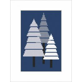 Cross Stitch pattern - Postcard - Christmas trees