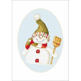 W 8660-01 ONLINE pattern pdf - Postcard - Snowman