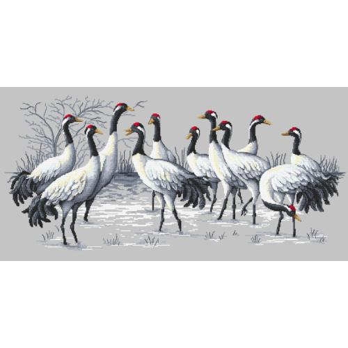 Cross stitch pattern - Cranes rally