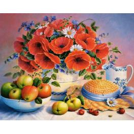 Diamond painting kit - Poppies and apples