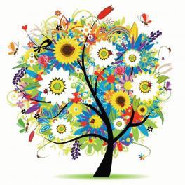 Diamond painting kit - Tree with flowers