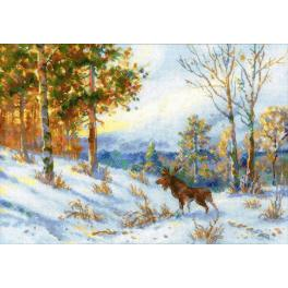 Cross stitch kit - Moose in a winter forest by V. L. Muravyov